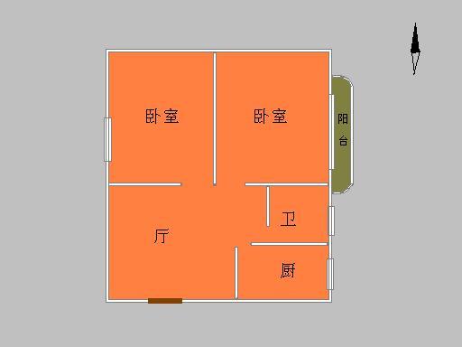 设计图分享 两房一厅一厨两卫平面设计图 55平米两室一厅平面设计图