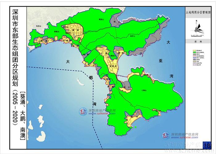 大鹏半岛生态保护前景堪忧的报导 区域可开发土地图,黄色为可开发部分